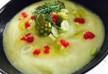 Vellutata di broccolo romanesco e finocchio con cipollotto, uova di lompo rosse e sale affumicato