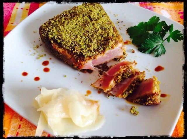 Filetto di tonno in crosta di pistacchio e zenzero