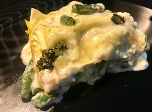 Lasagne al pesto con fagiolini e crescenza