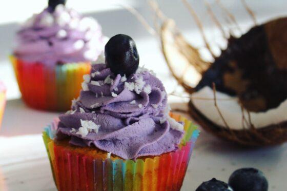 Cupcakes al cocco e mirtilli