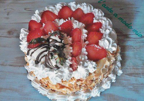 nutella fragole e panna torta compleanno