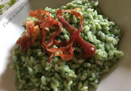 risotto con crema di basilico e spinaci