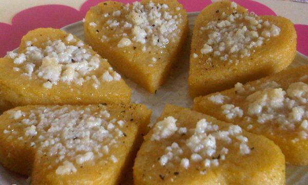 San Valentino con un Cuore di Polenta Ricetta Finger Food