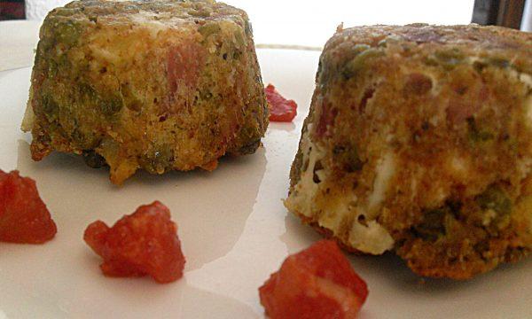 Tortino di piselli e speck al forno ricetta saporita