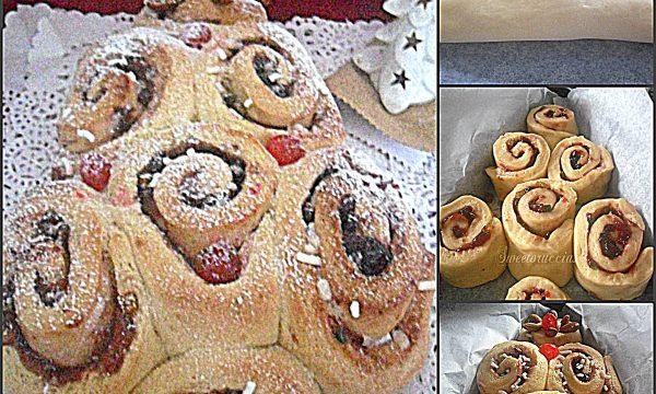Alberello di Natale di pan brioche dolce