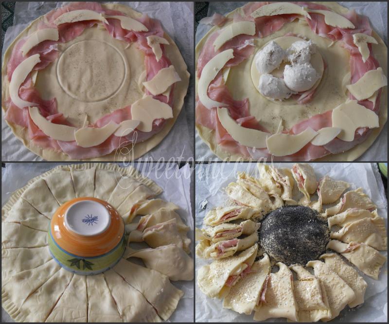 Ricetta girasole salato prosciutto e formaggio