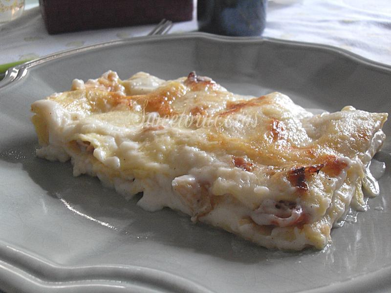 Lasagne con caprino e speck