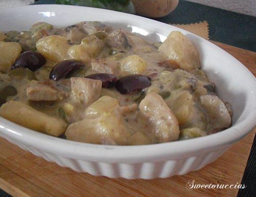 Filetto di maiale con patate e olive