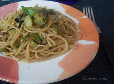 Spaghetti integrali in verde