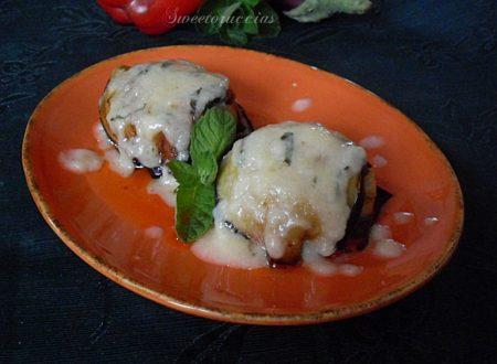 Tortino di melanzane ai peperoni in crema di parmigiano reggiano