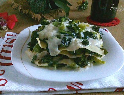 Lasagna con broccoletti e besciamella all'acciuga