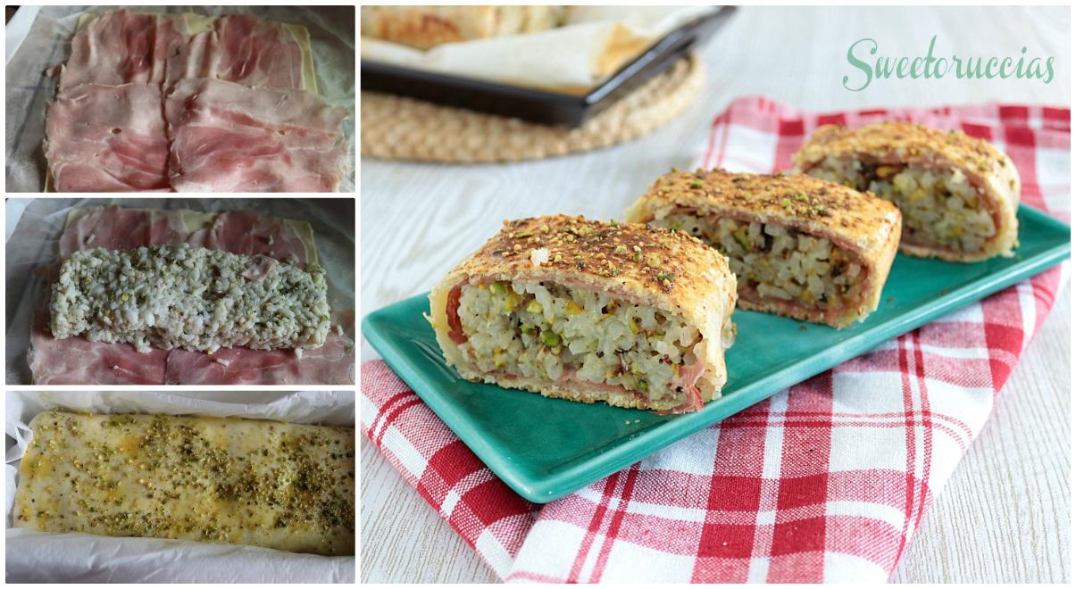 collage Mattonella di riso al pistacchio in sfoglia