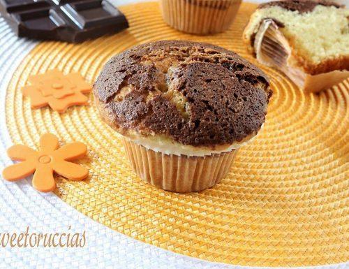 Tortine bicolore con cioccolato fondente
