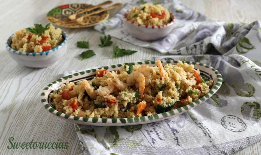 Cous cous con verdure e gamberoni