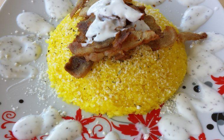 Risino di Konjac allo zafferano con Kebab