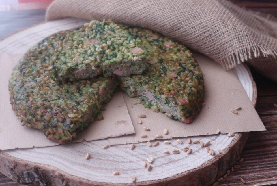 torta di farro con ricotta, spinaci e prosciutto