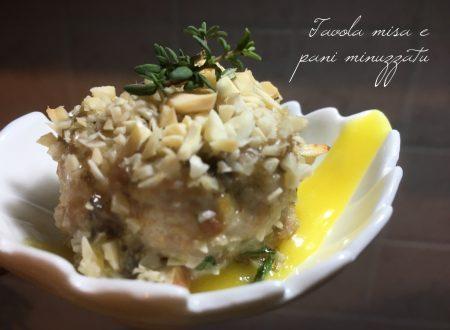 Tortino di Sgombro a beccafico con cuore di cipolla in agrodolce su crema di patate allo zafferano