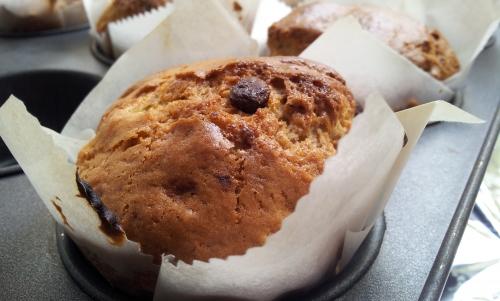banana pecan chocolate muffin