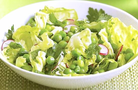 Butterhead lettuce salad with peas and herbs