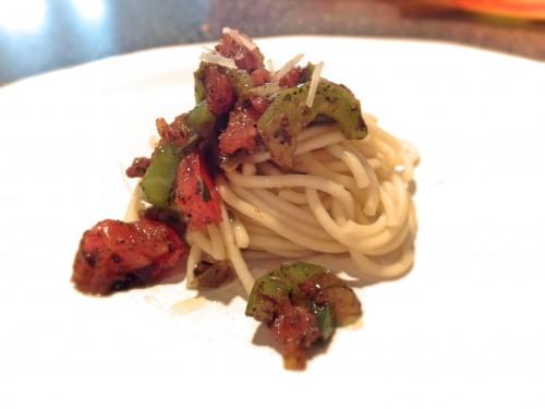 spaghetti truffle green olive
