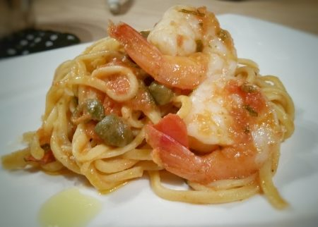 Shrimp in tomato and caper (caperi) sauce