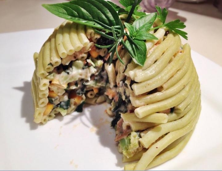 cupola di bucatini spinach open
