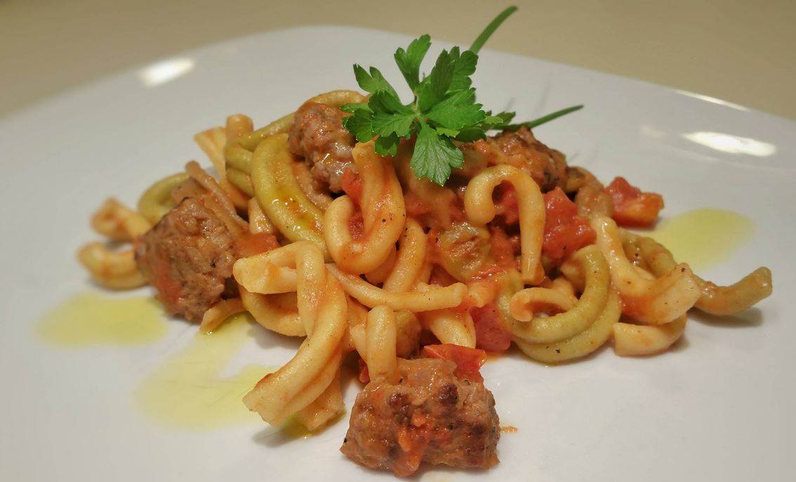 Homemade casarecce with Italian sausage