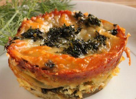 Mini lasagne di patate con cavolo nero e pesto