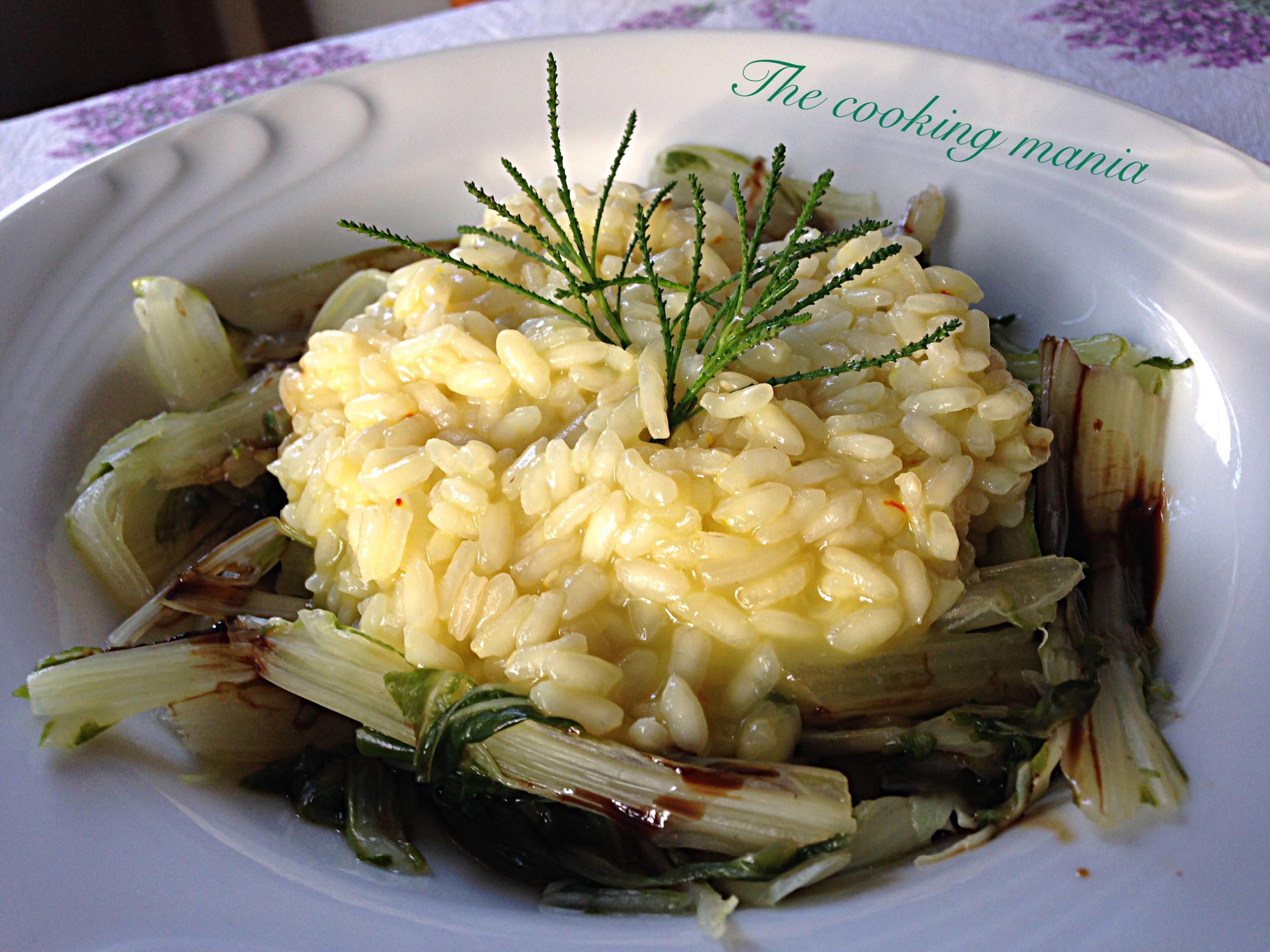 Risotto con zafferano, gambi di bietola e erba oliva