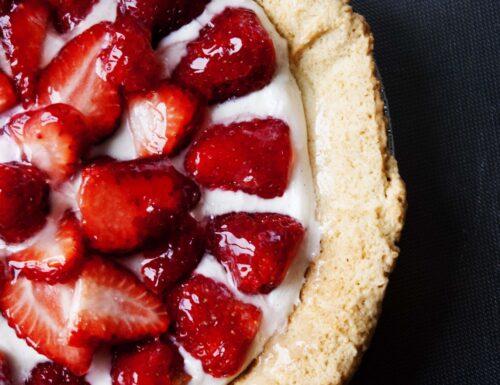 Crostata Crema e Fragole | Senza burro e Senza zucchero