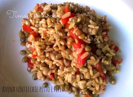 Insalata di avena lenticchie e peperoni