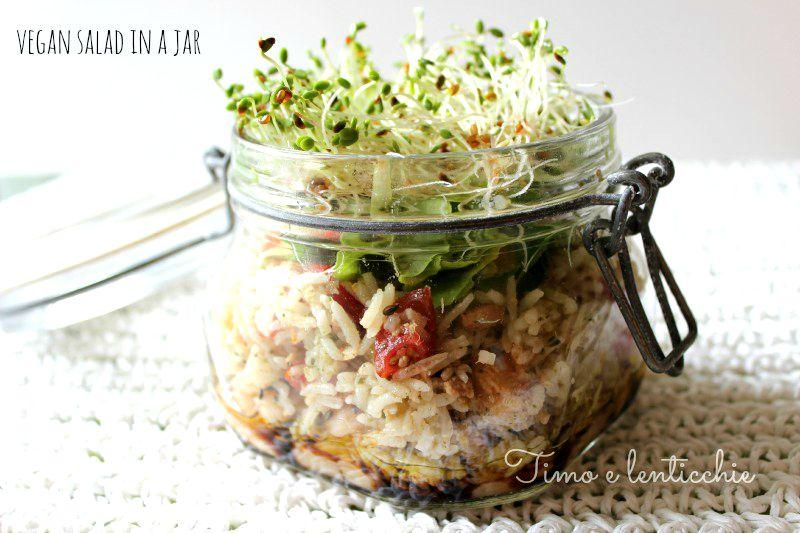 vegan salad in a jar