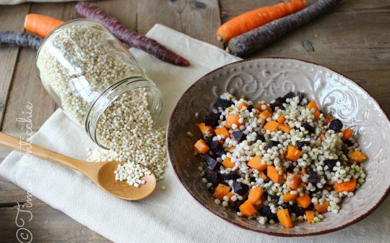 Insalata tiepida di sorgo alle due carote