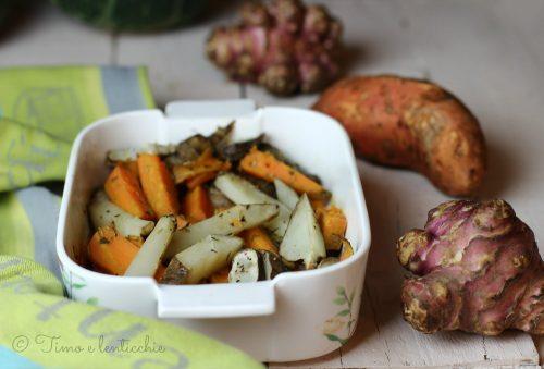 Tuberi di batata e topinambur al forno