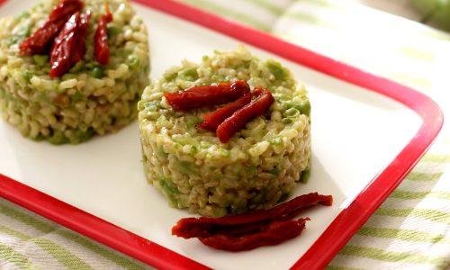 Tortino di riso integrale al pesto di piselli