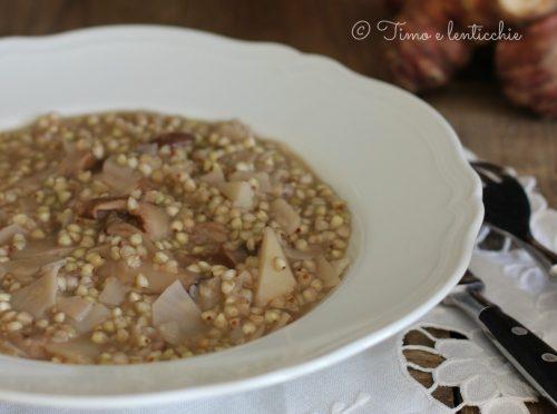 Grano saraceno risottato ai funghi e topinambur