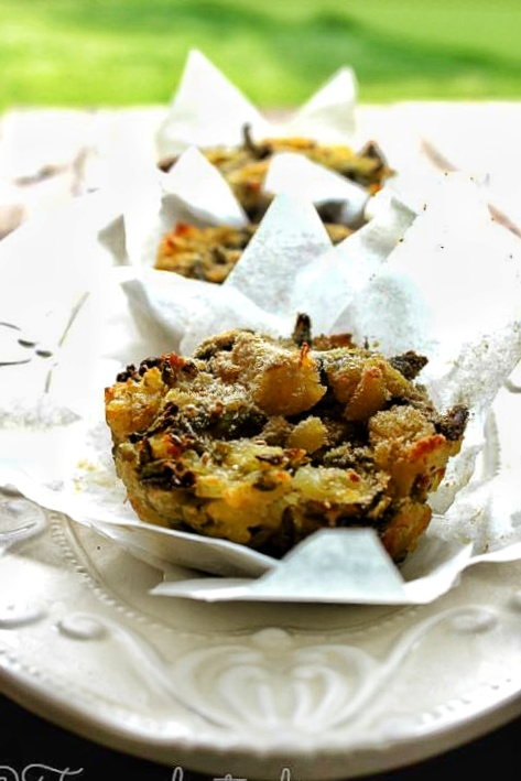 Tortini di fagiolini e patate del riciclo