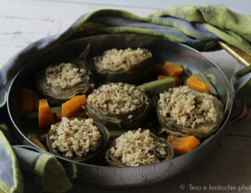 Carciofi ripieni di freekeh e quinoa