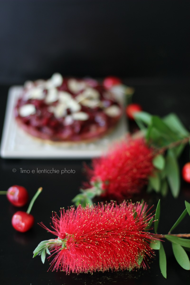 vegan cheesecake alle ciliegie e mandorle 2