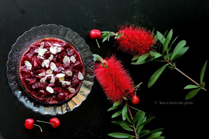 vegan cheesecake alle ciliegie e mandorle 8
