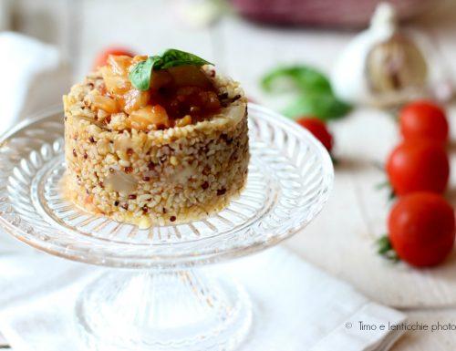 Tortini freekeh e quinoa alla Norma leggera