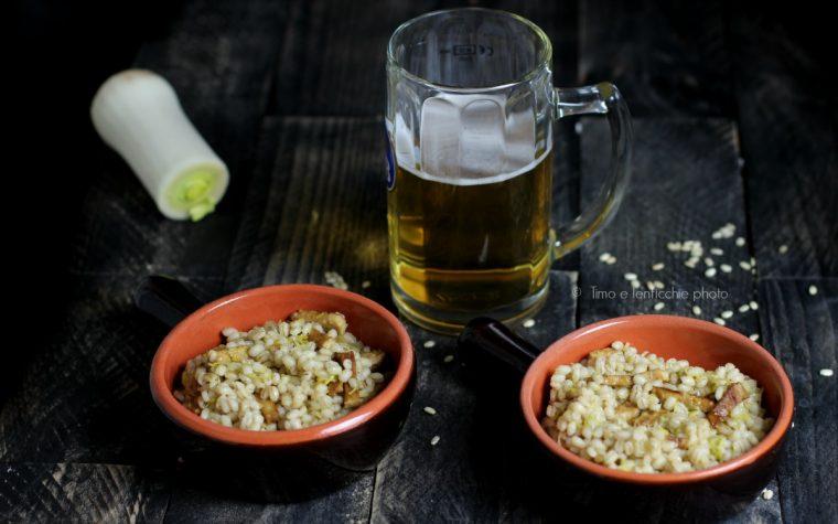Orzo perlato alla birra con porri e tempeh