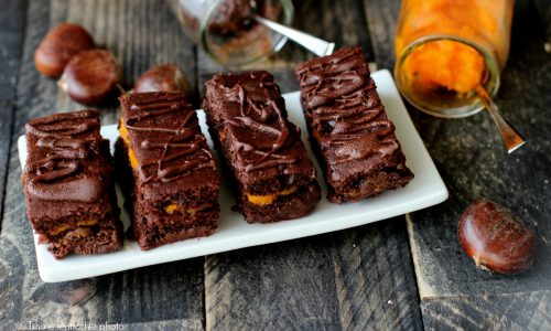 Mattoncini al cioccolato con marmellata di zucca e marroni