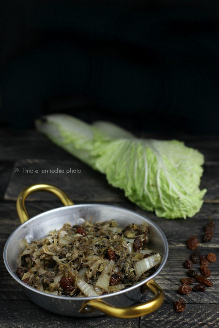 Cavolo cinese in agrodolce uvetta e zenzero