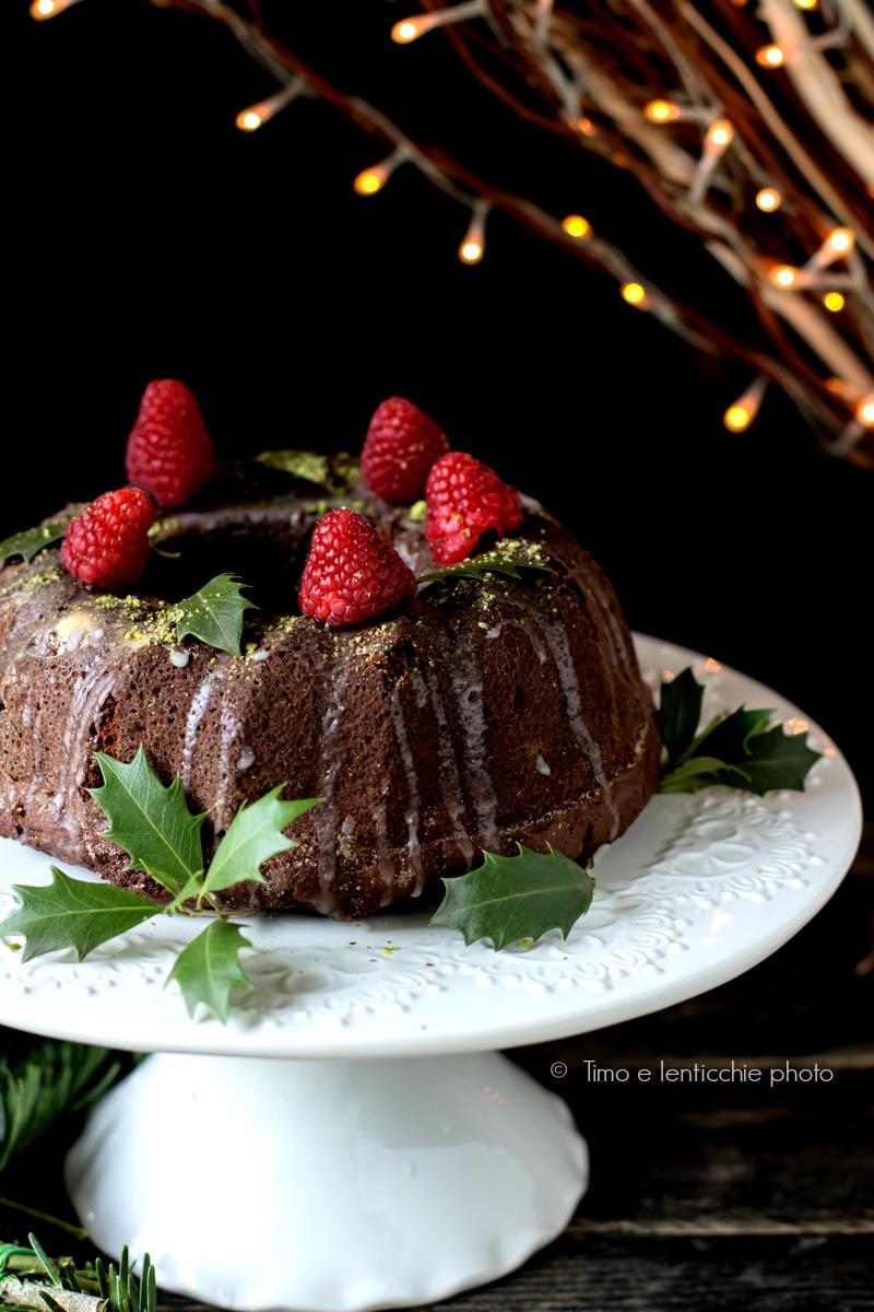 Vegan bundt cake cioccolato e lamponi