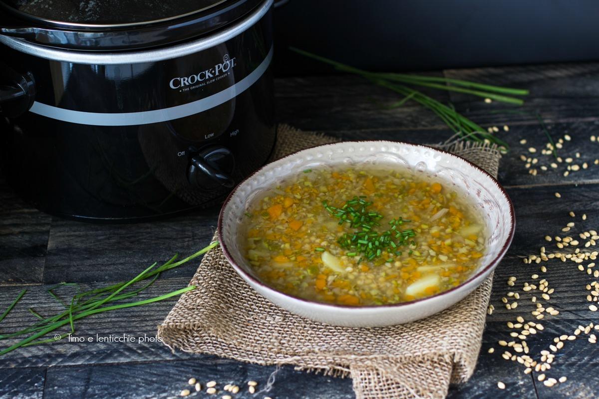 Zuppa di orzo mondo e verdure in slow cooker