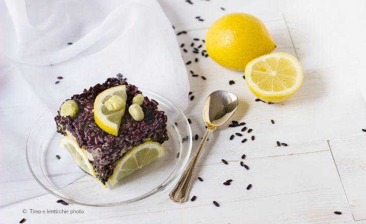 Tortino di riso venere pesto di fave e limone