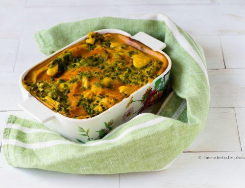 Lasagne al forno in besciamella di zucca con piselli