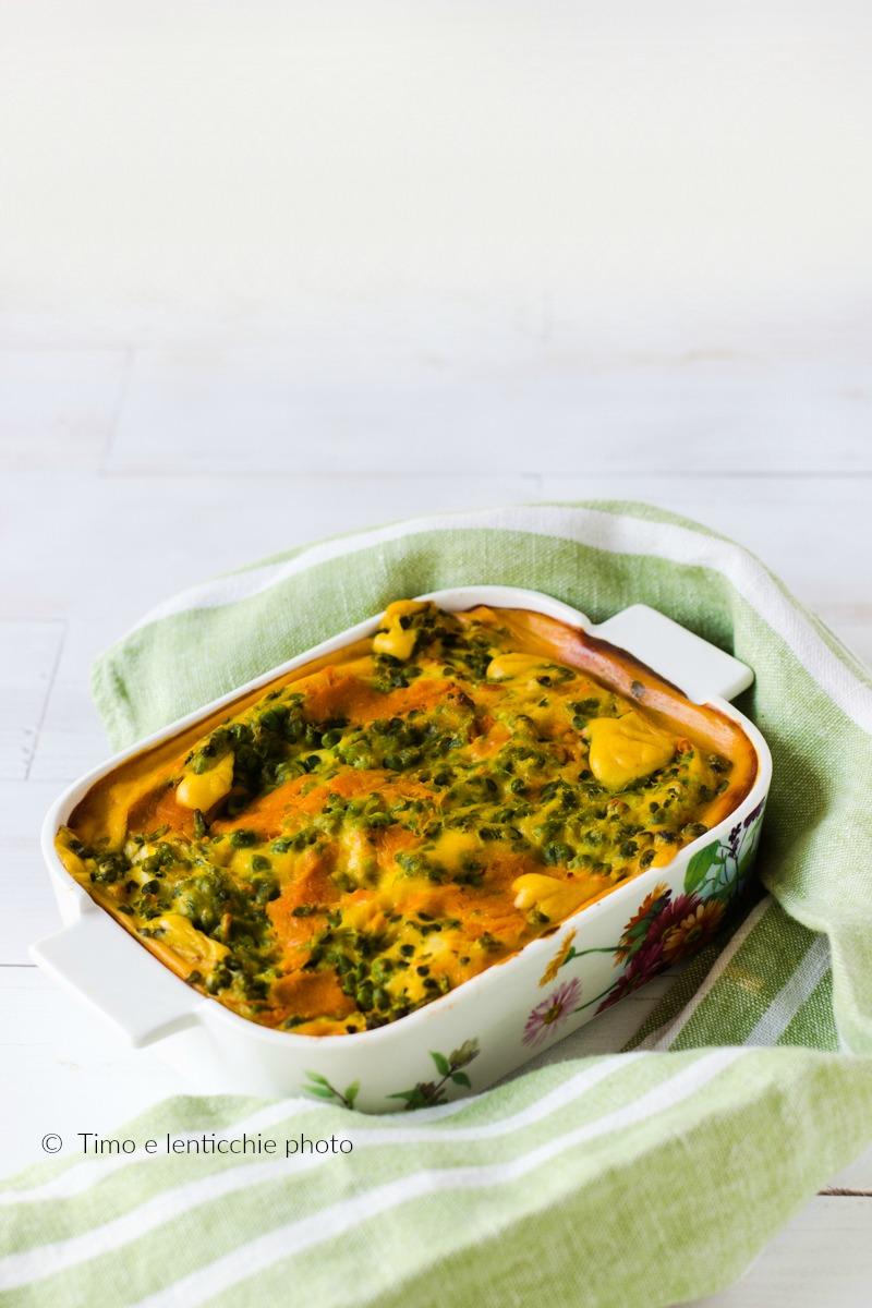 Lasagne al forno in besciamella di zucca con piselli 1