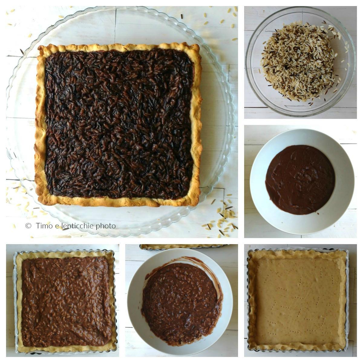 Torta di riso selvaggio alla crema di cioccolata veg passo
